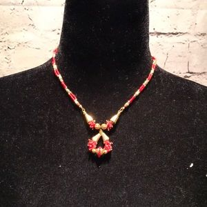 Indian style necklace and earring set red gold